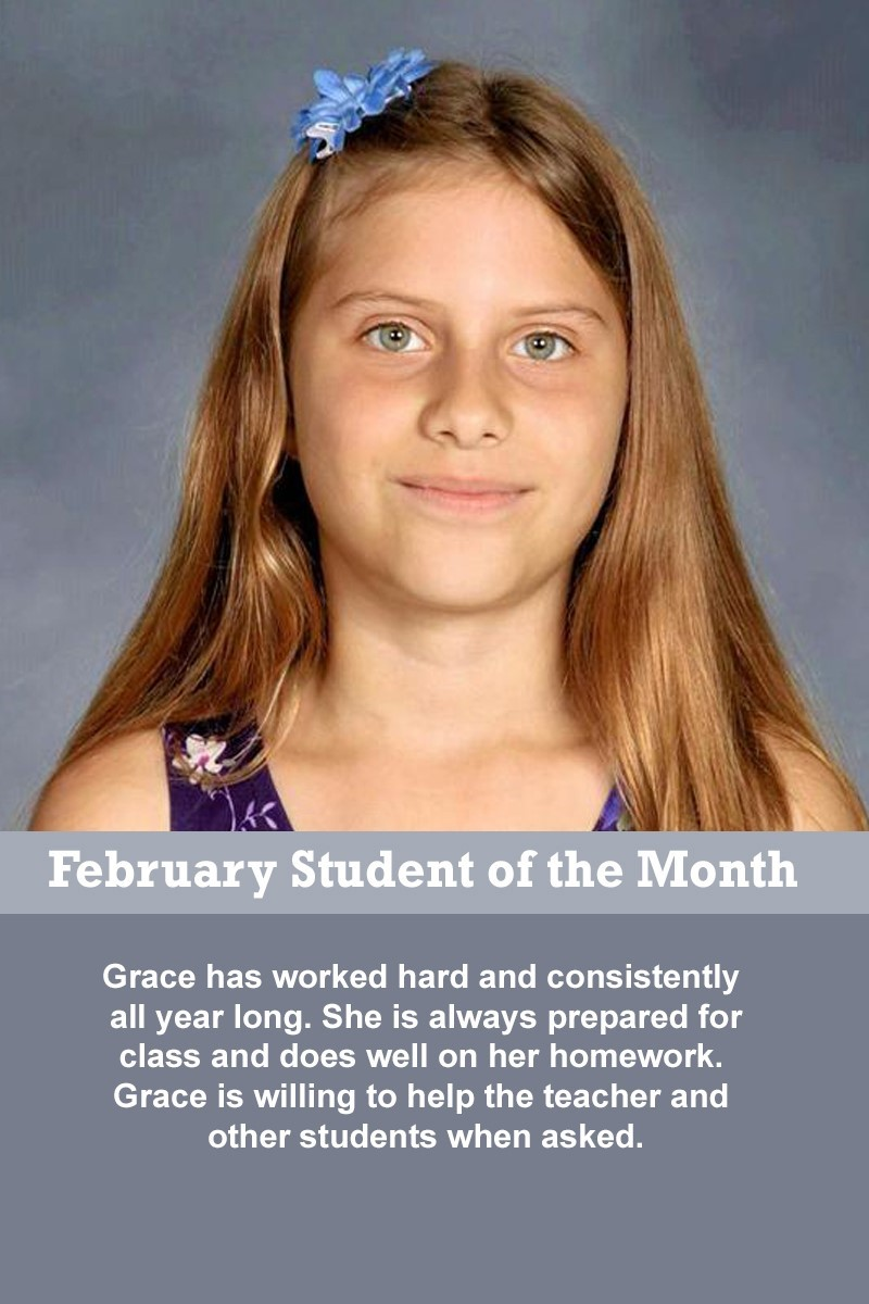 Mrs. Barteau's February Student of the Month