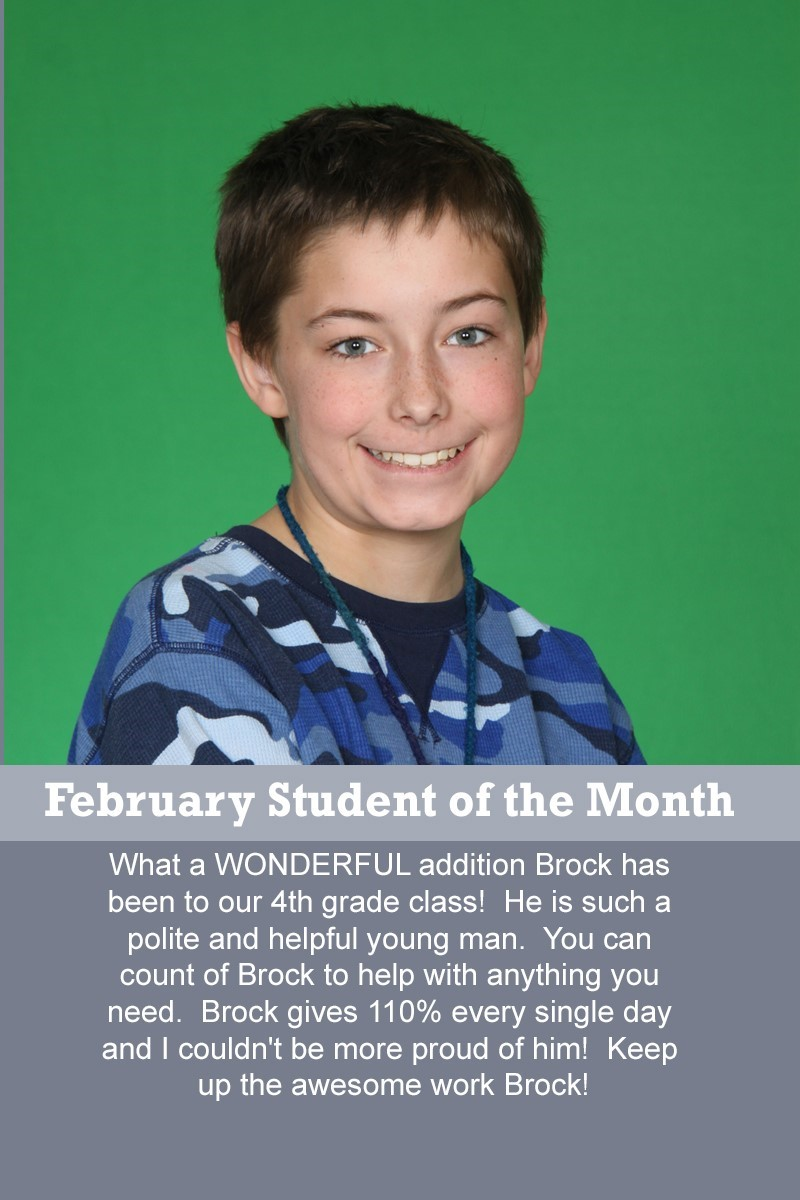 Mrs. Thomas' February Student of the Month