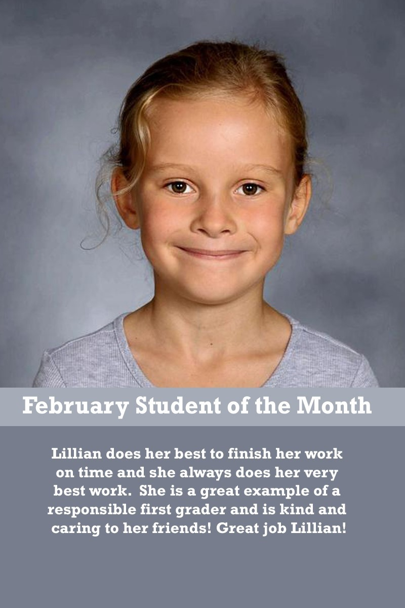 Mrs. Brown's February Student of the Month