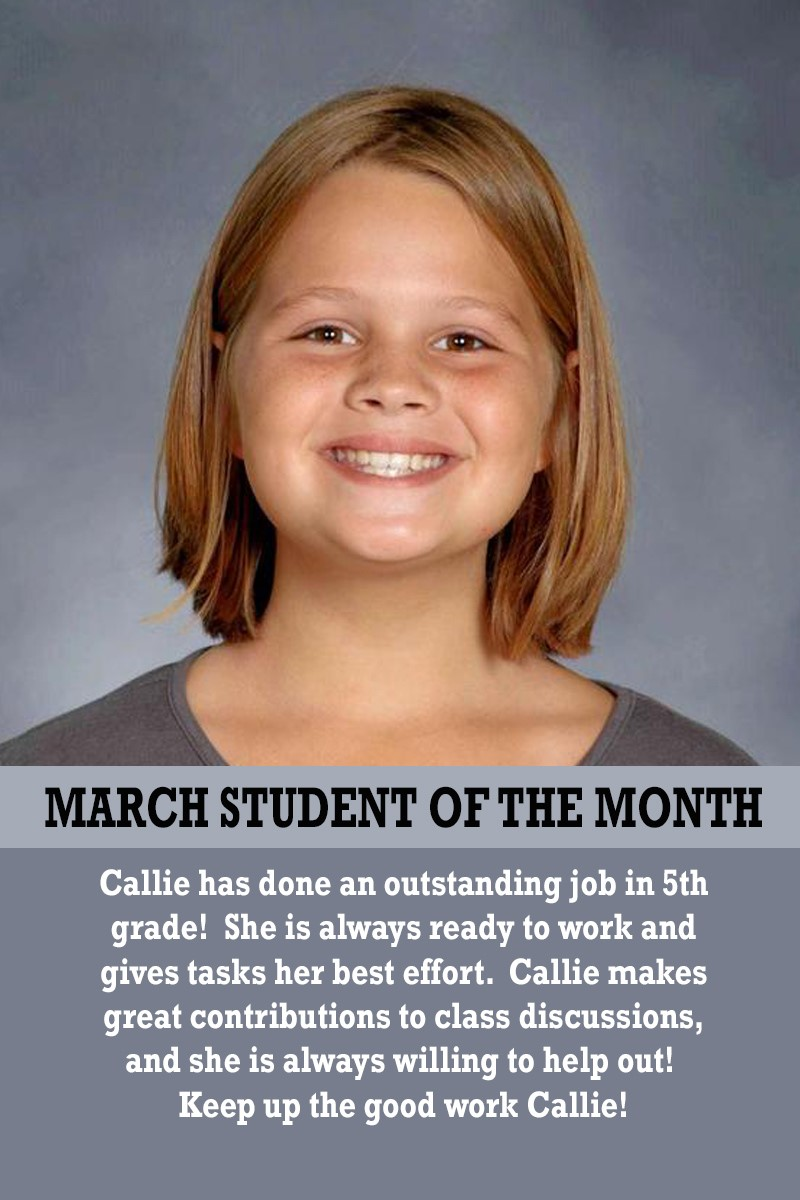 Mrs. Justice's March Student of the Month