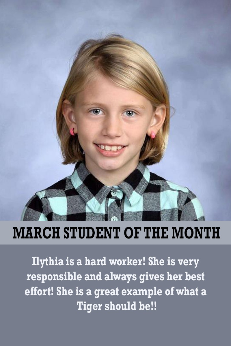 Mrs. Atkinson's March Student of the Month