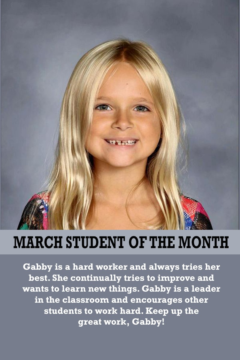 Ms. Suarez's March Student of the Month