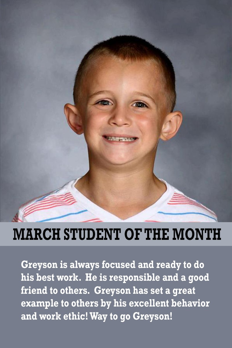 Mrs. Brown's March Student of the Month