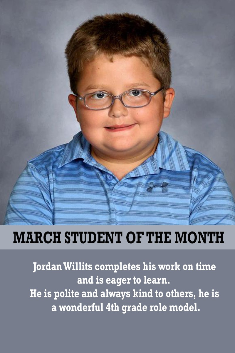 Mrs. Barteau's March Student of the Month