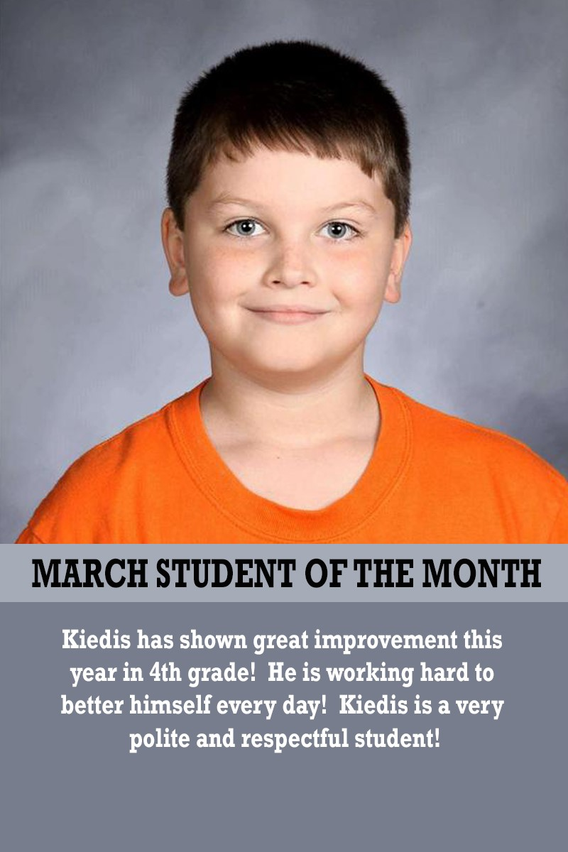 Mrs. Thomas' March Student of the Month