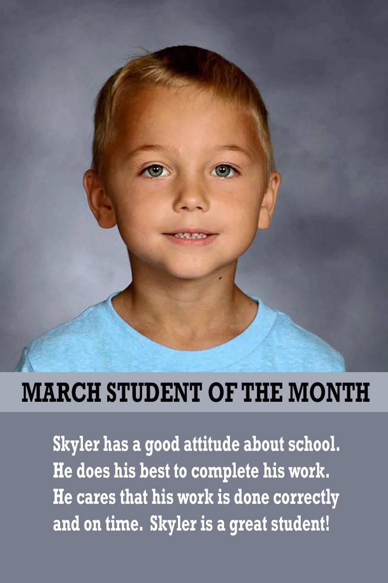 Mrs. Souhrada's March Student of the Month