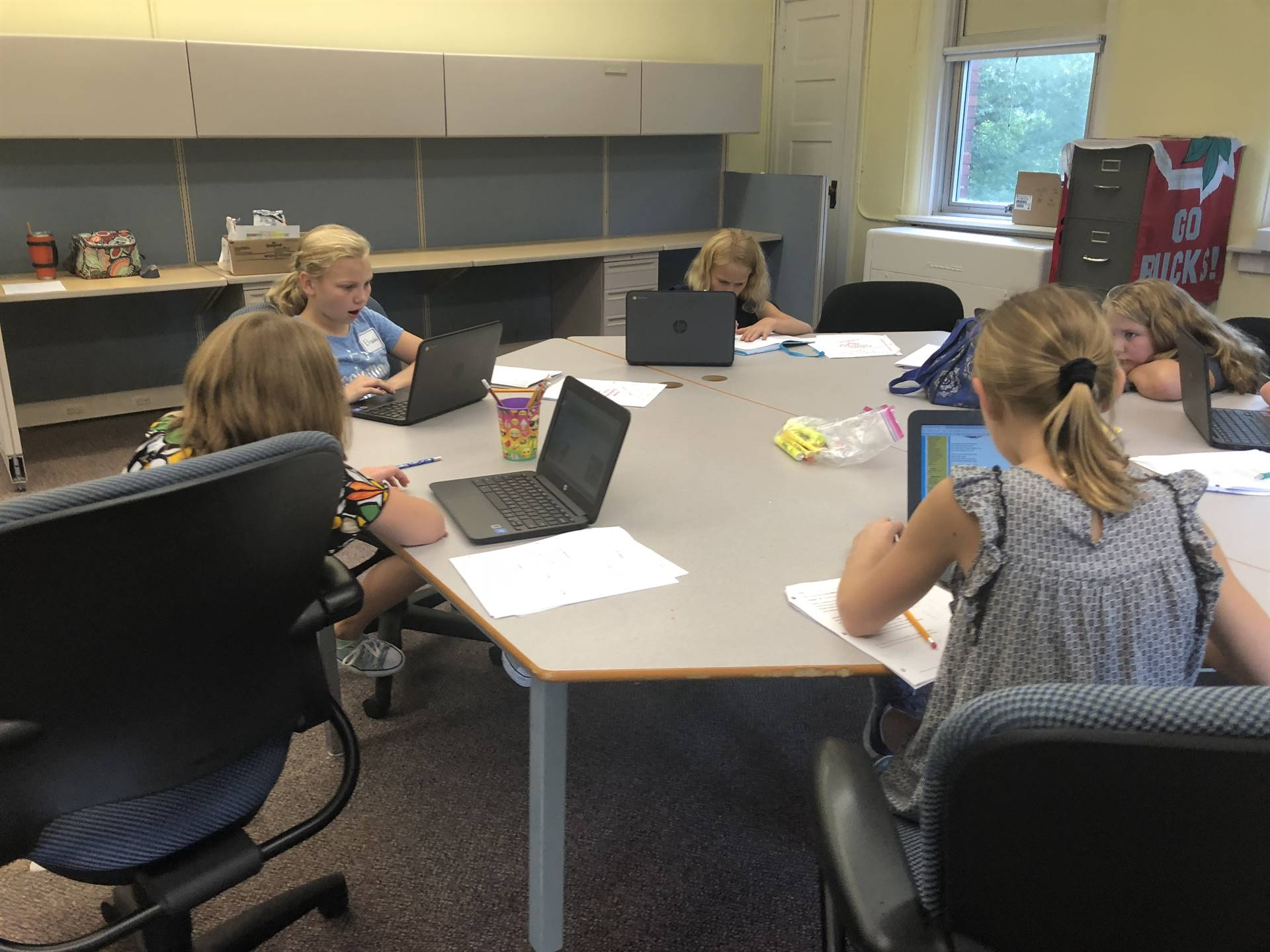 Students working on poetry projects.