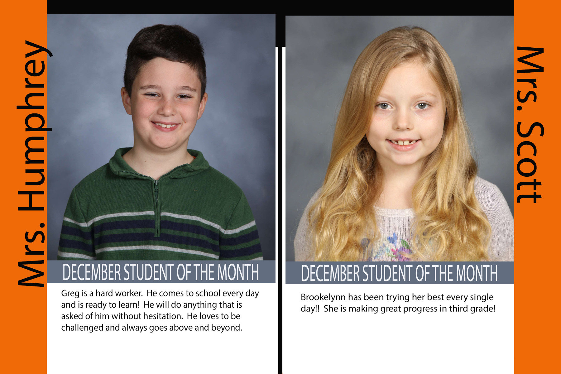 Third Grade December Student of the Month