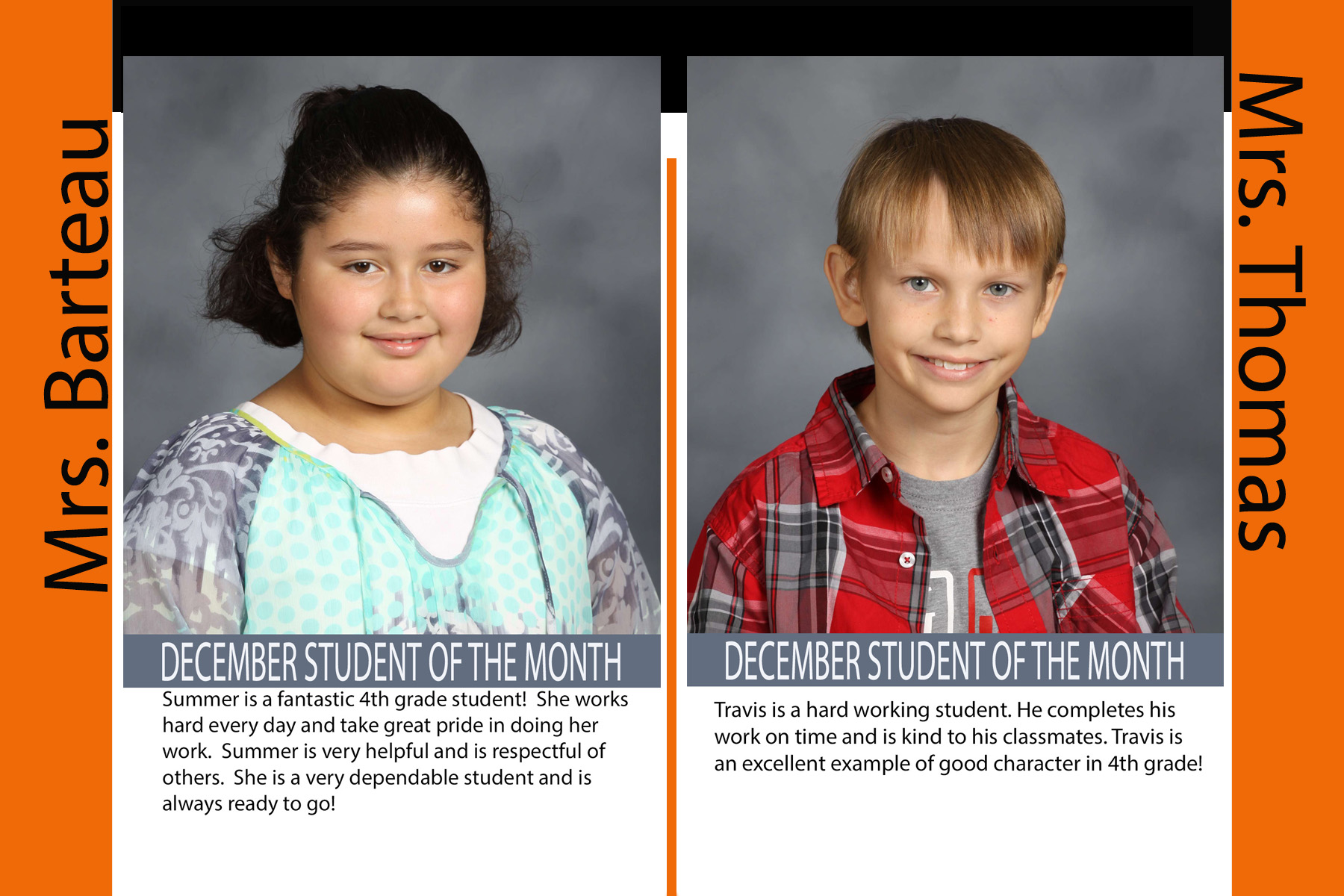 Fourth Grade December Student of the Month