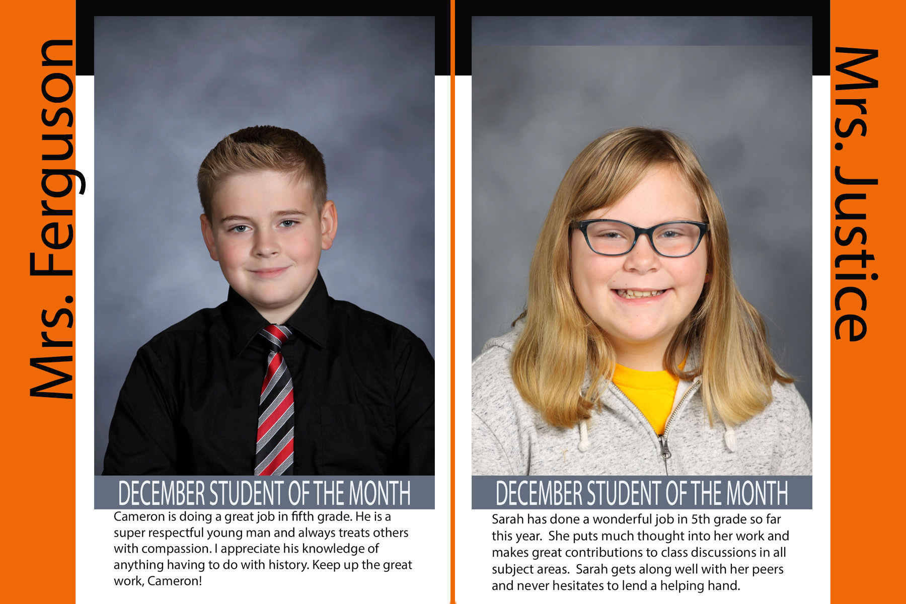 Fifth GRade December Student of the Month