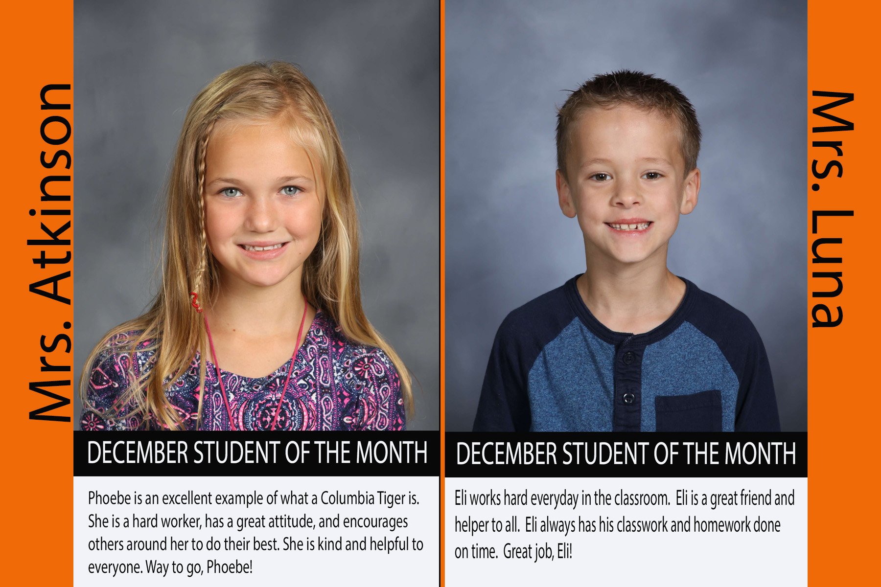 2nd Grade December Student of the Month