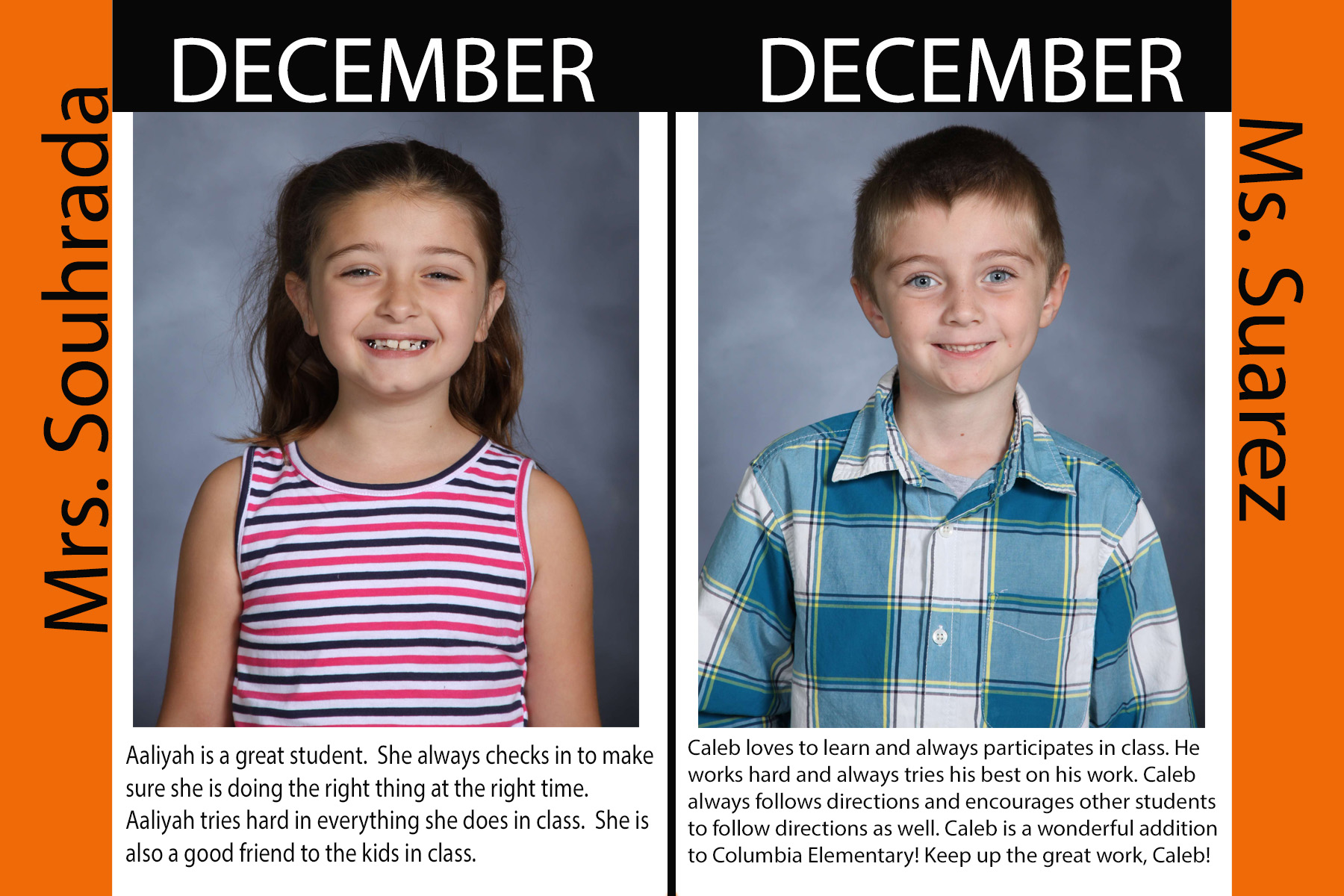 1st Grade December Student of the Month