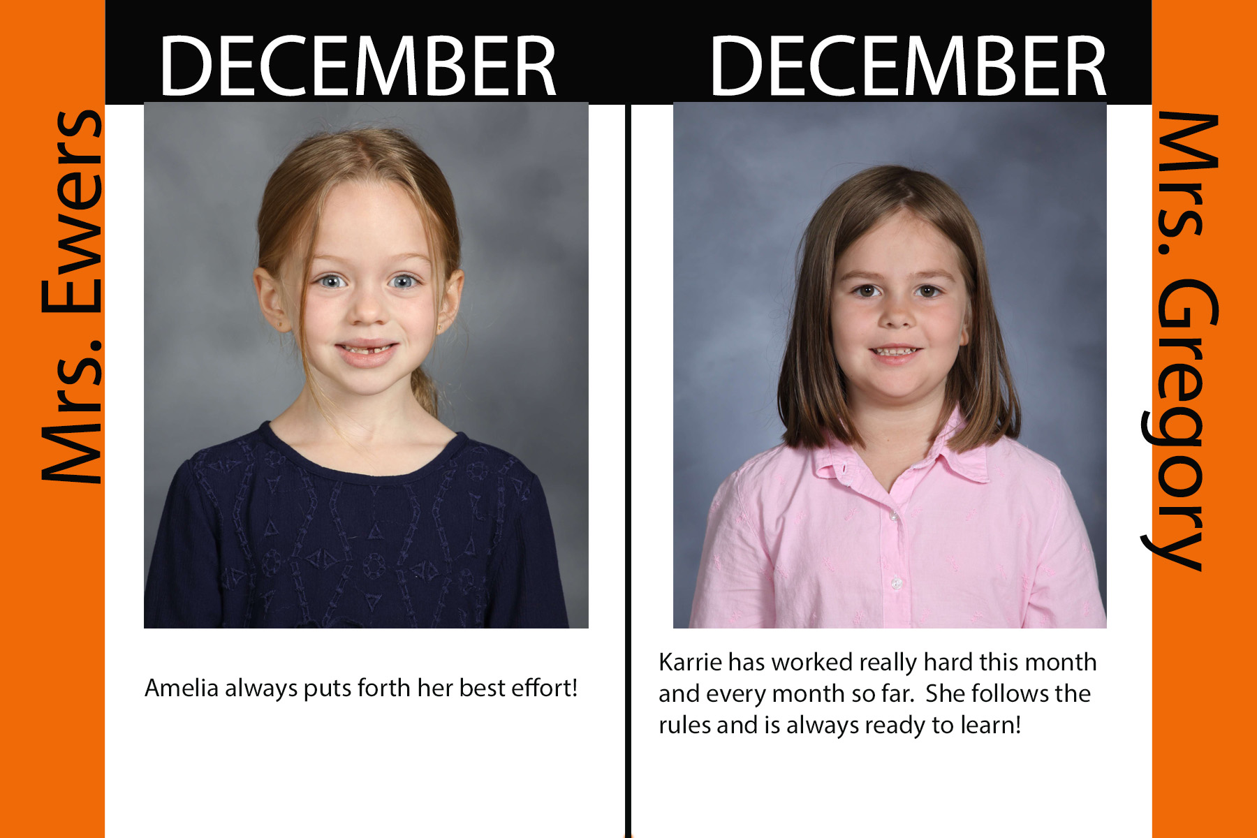 Kindergarten December Student of the Month