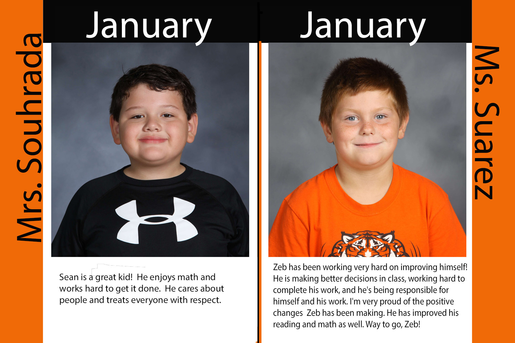First Grade January Students of the Month (17/18)