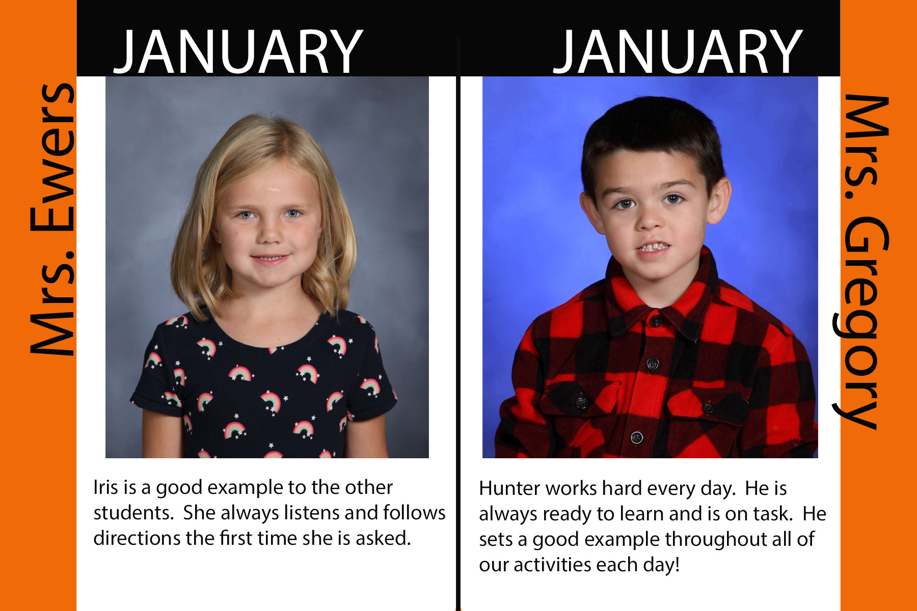 Kindergarten January Students of the Month (17/18)