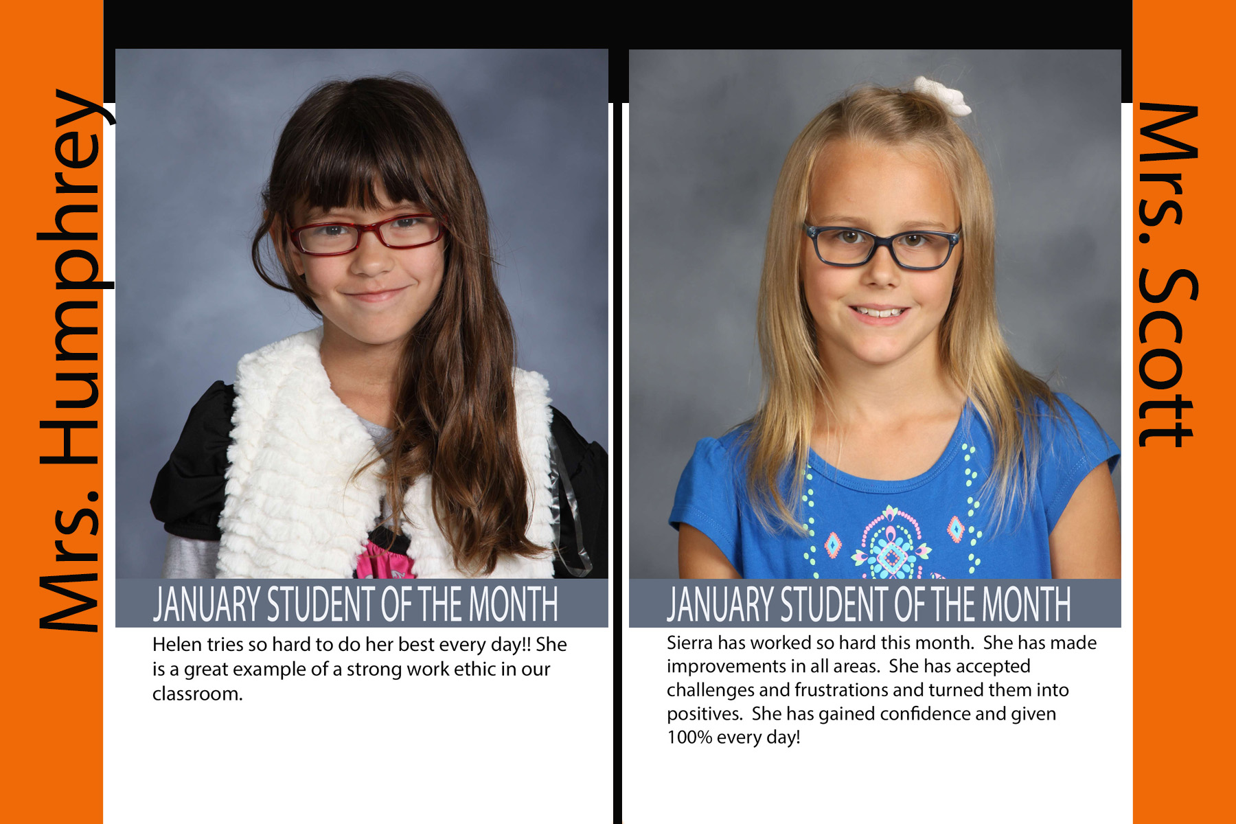Third Grade January Students of the Month (17/18)