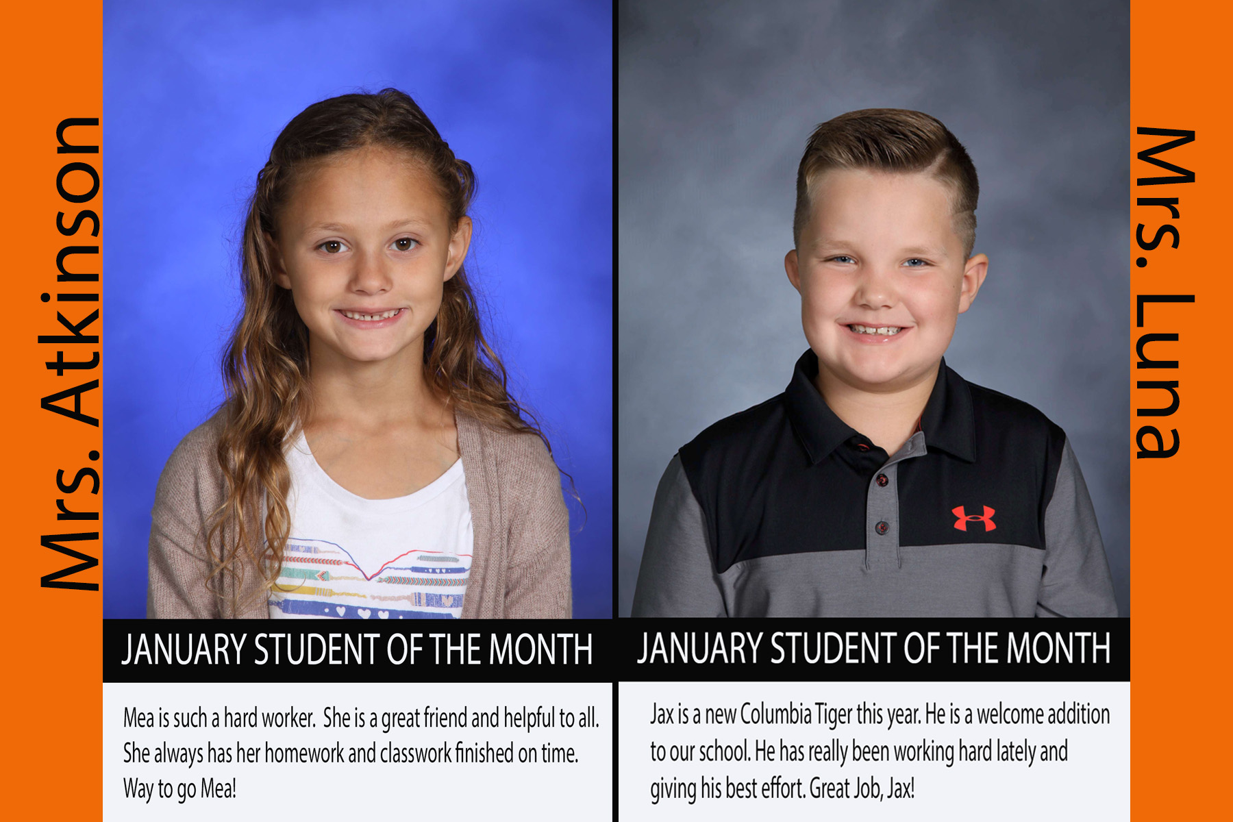 Second Grade January Students of the Month (17/18)