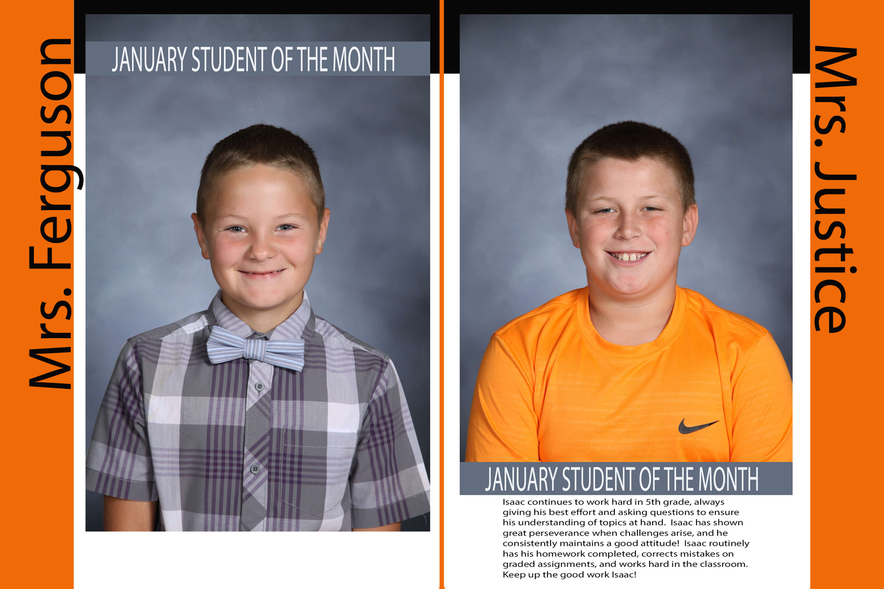 Fifth Grade January Students of the Month (17/18)