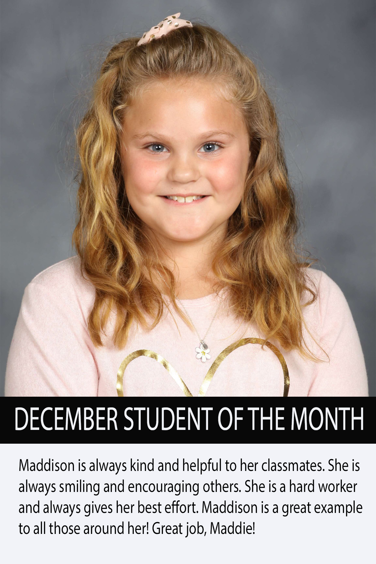 Mrs. Atkinsons November Student of the Month