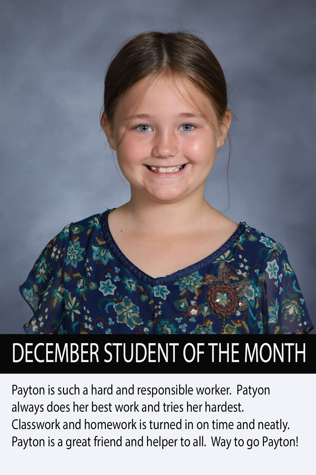 Mrs. Luna's November Student of the Month