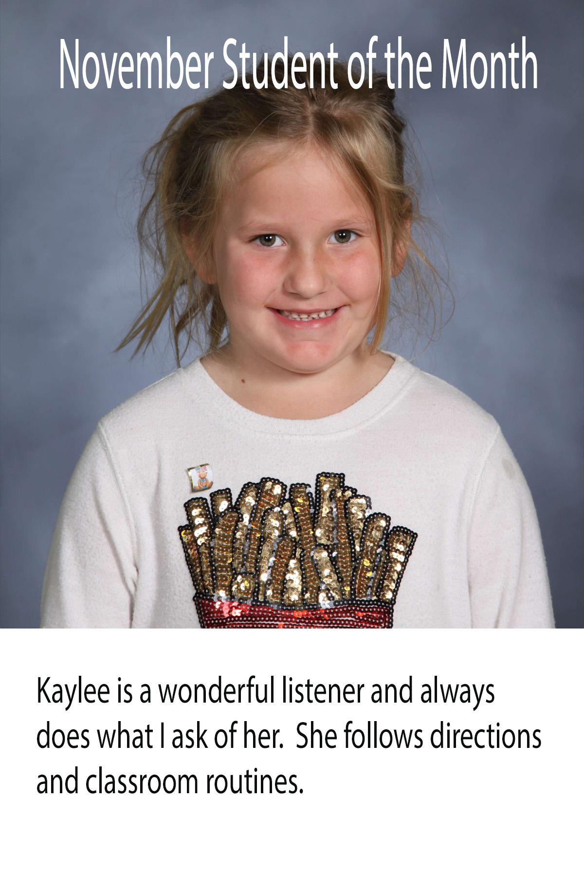 Mrs. Ewers' November Student of the Month