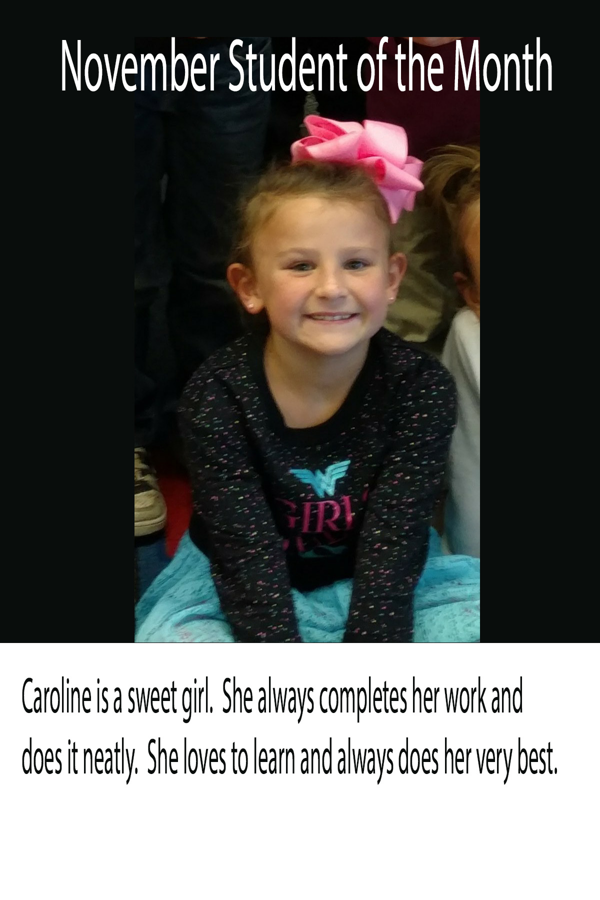 Mrs. Souhrada's November Student of the Month