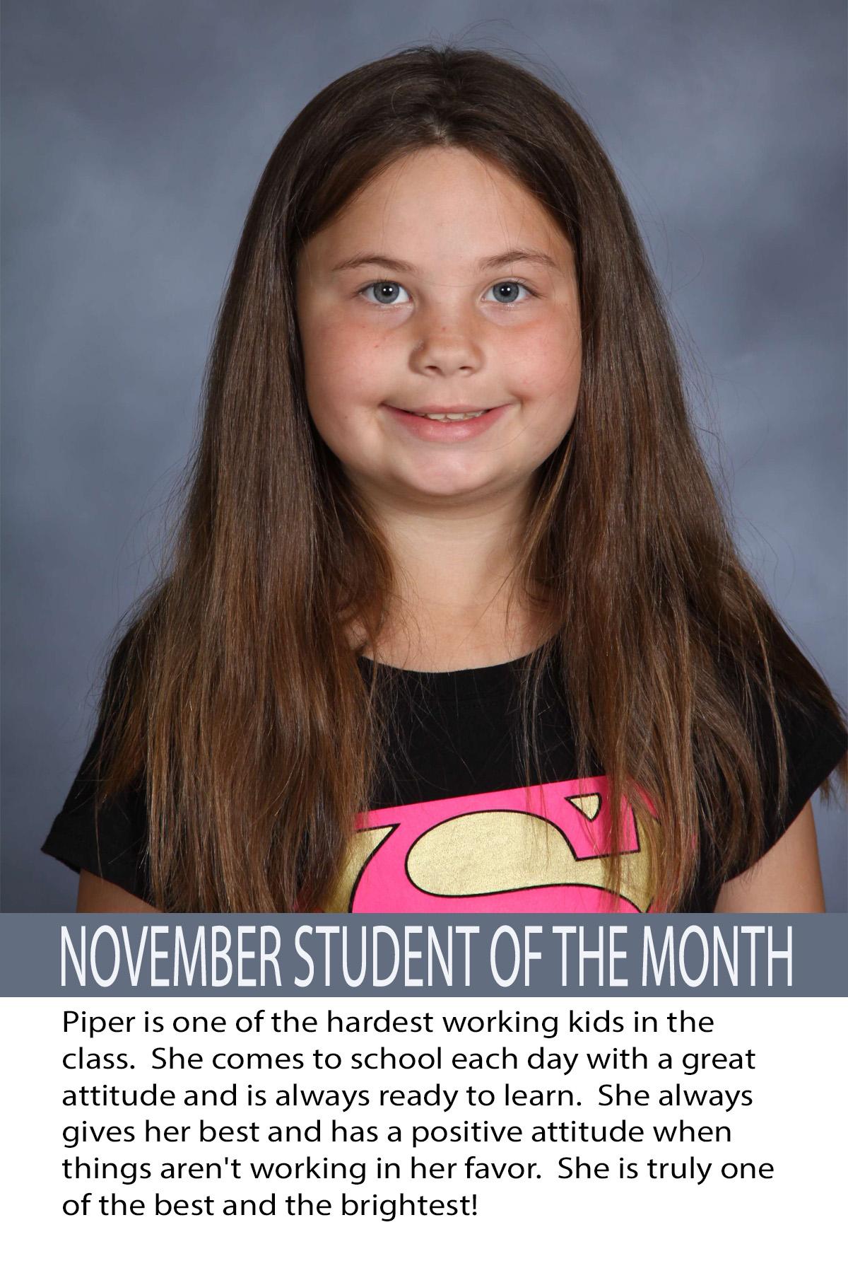 Mrs. Scott's November Student of the Month