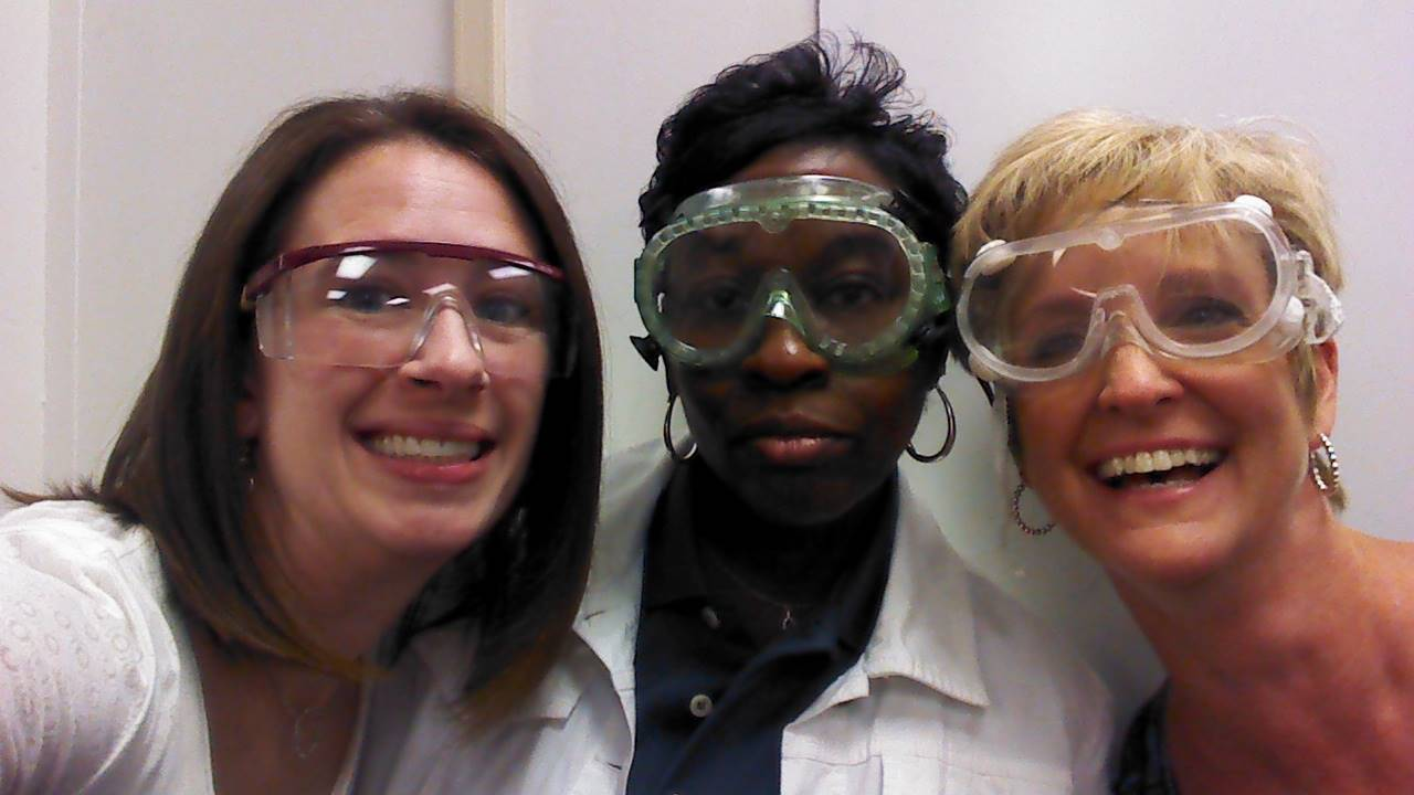 Counselors with goggles during ALICE training