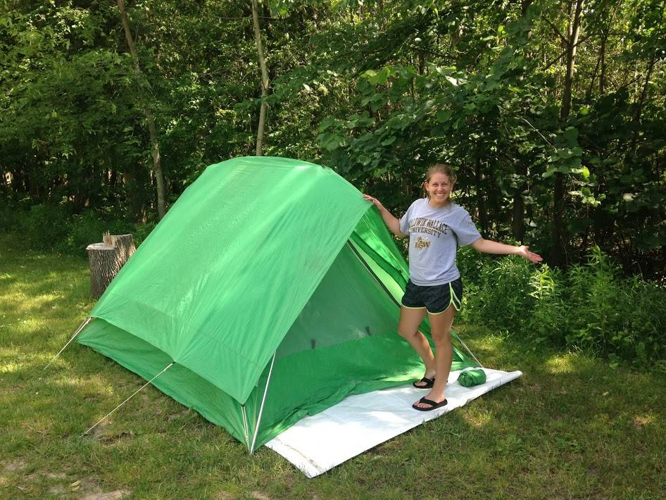 Mrs. Torgler on a camping adventure.