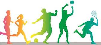 Silhouettes of children playing sports