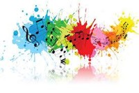Music notes with splattered colors