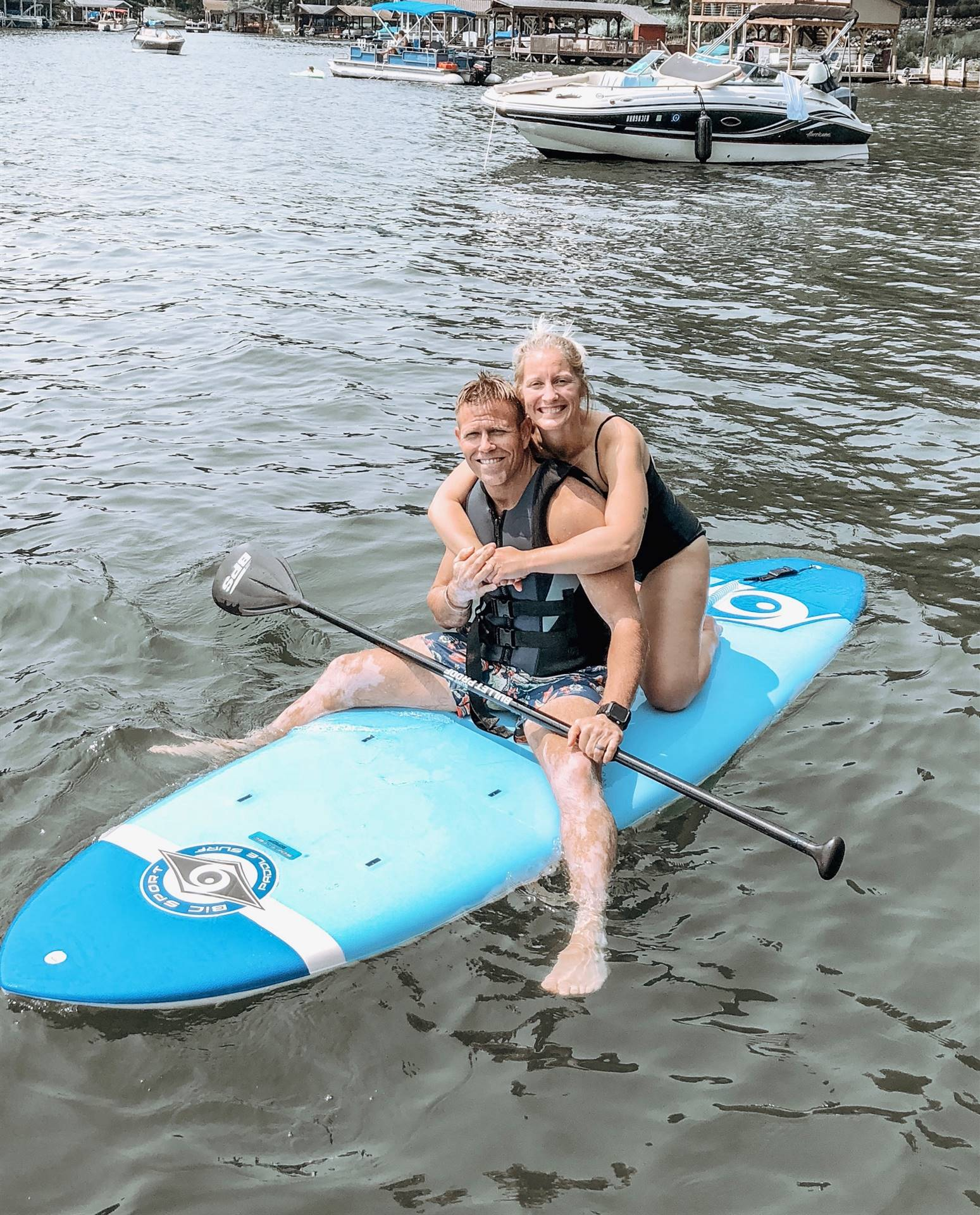 My wife and I paddleboarding