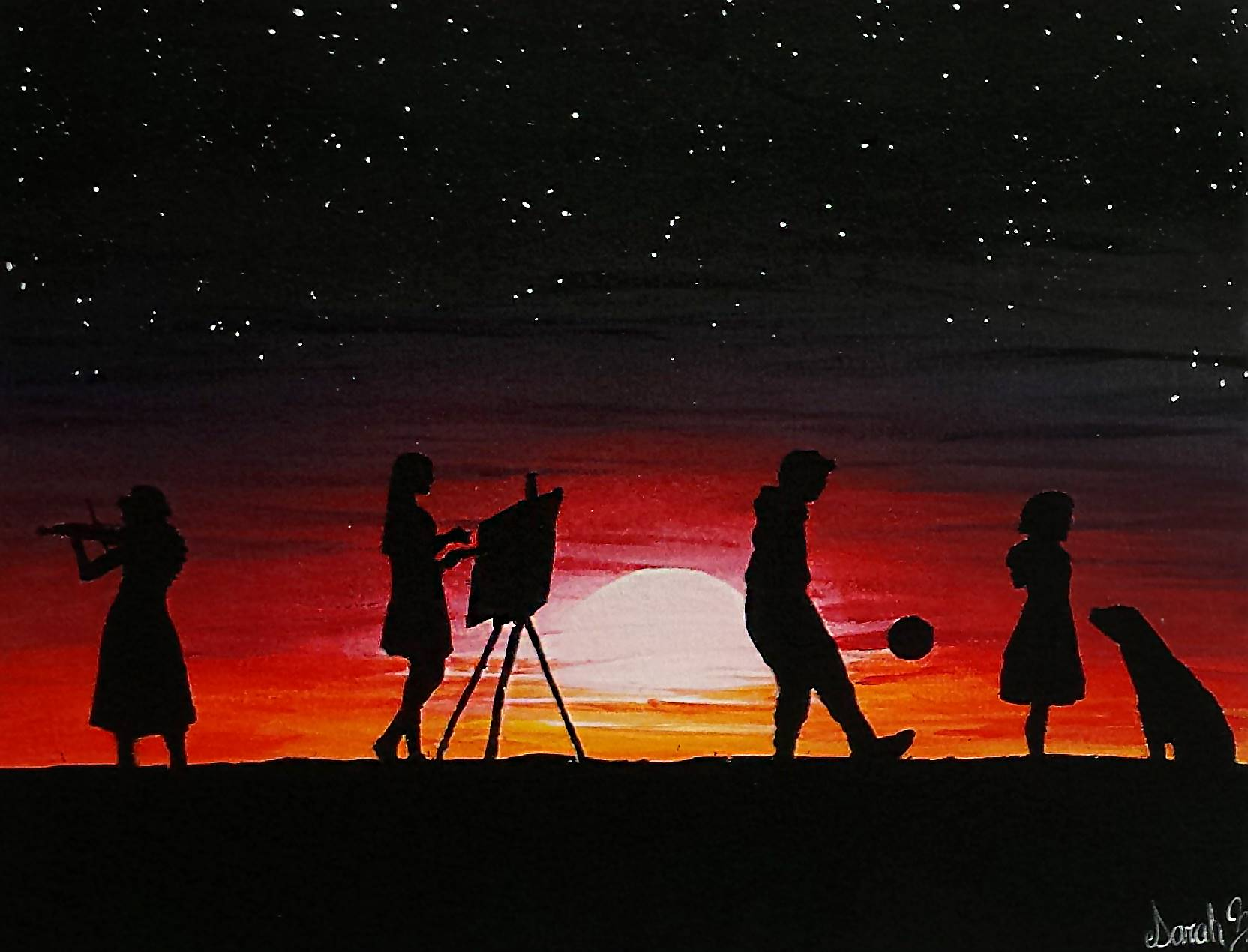 Acrylic painting of silhouettes of a girl playing violin, a girl painting with a canvas on an easel,