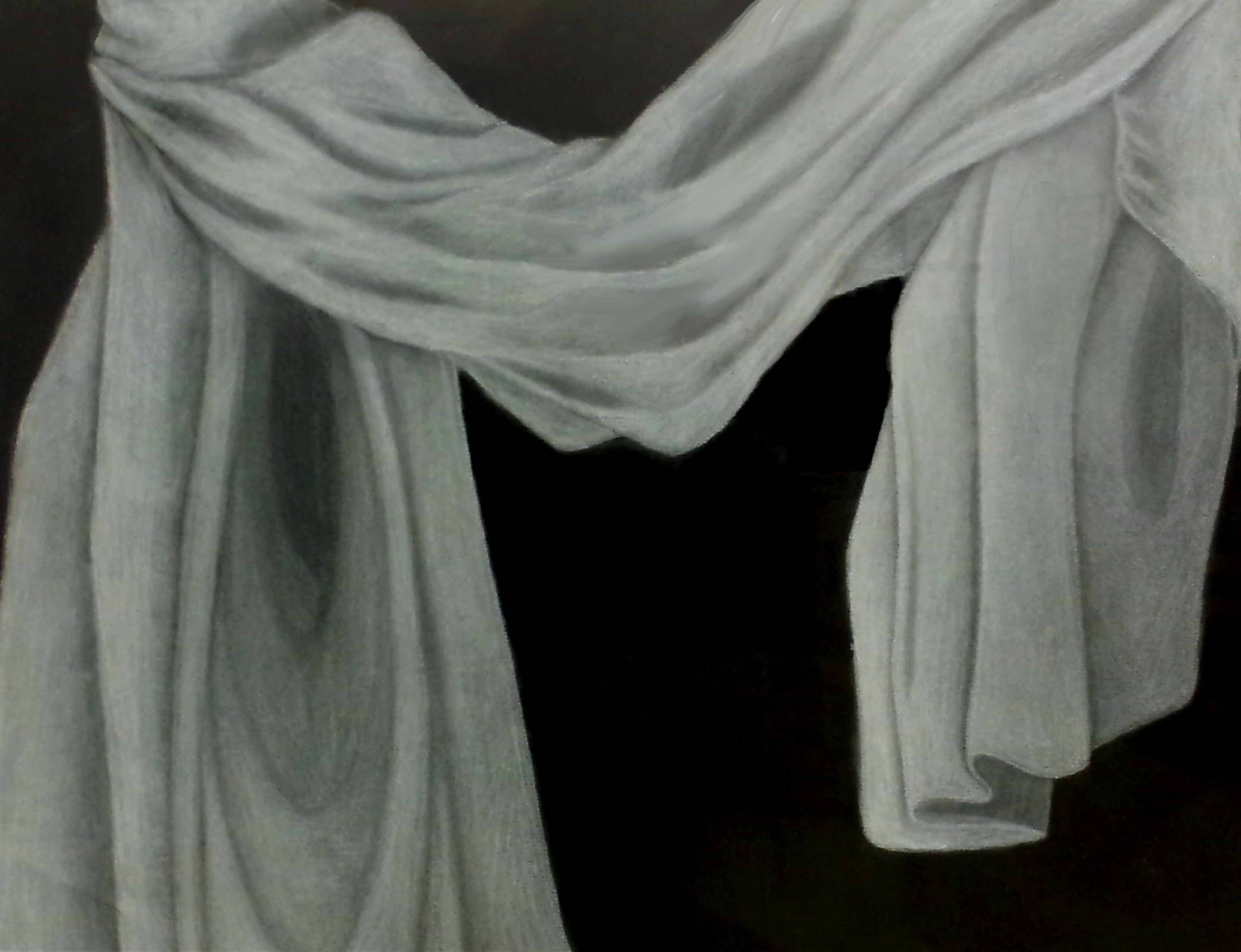 Charcoal drawing of draped white fabric on a black background with a light source