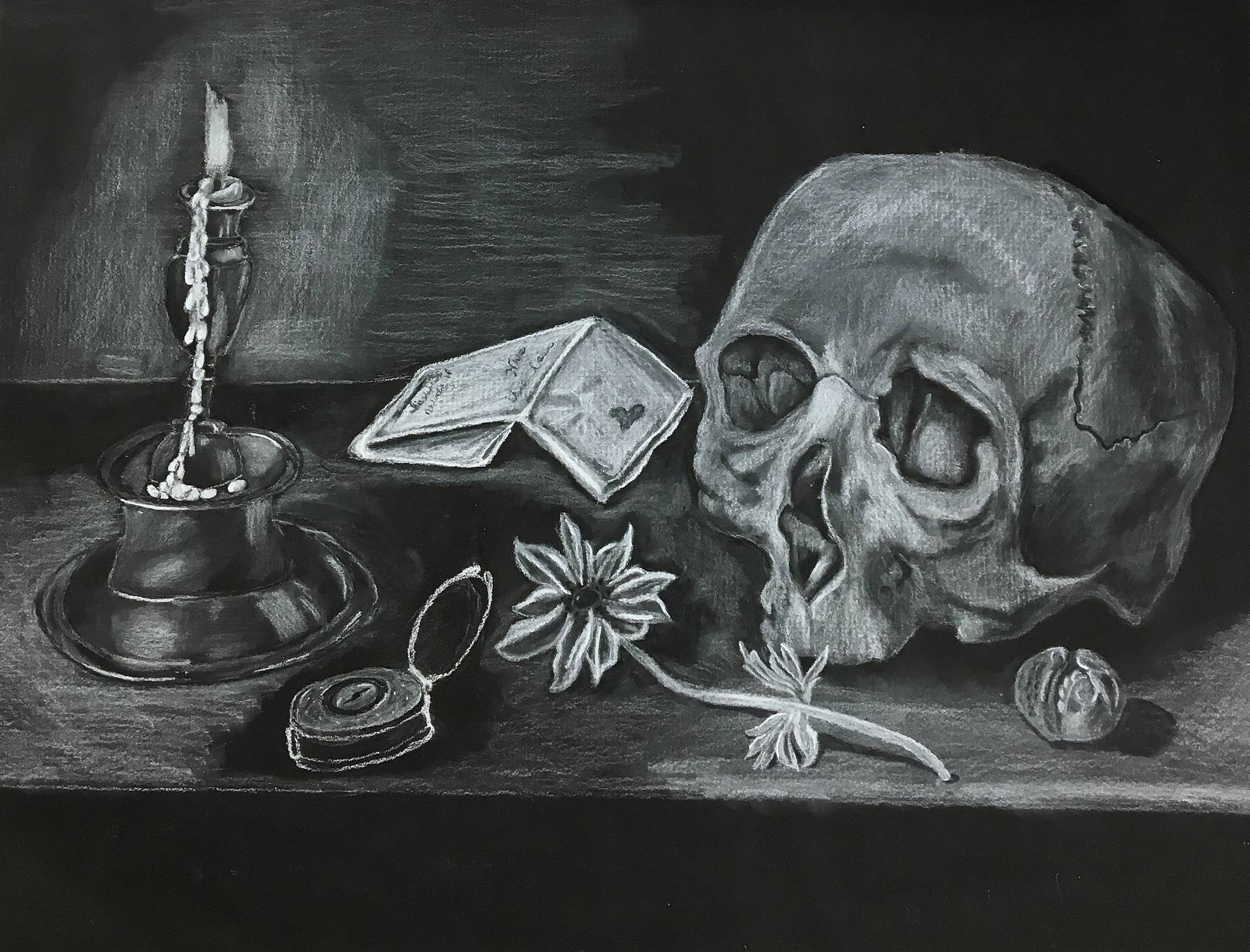 Charcoal drawing of a candle, pocket watch, flower, paper, and skull with a light source