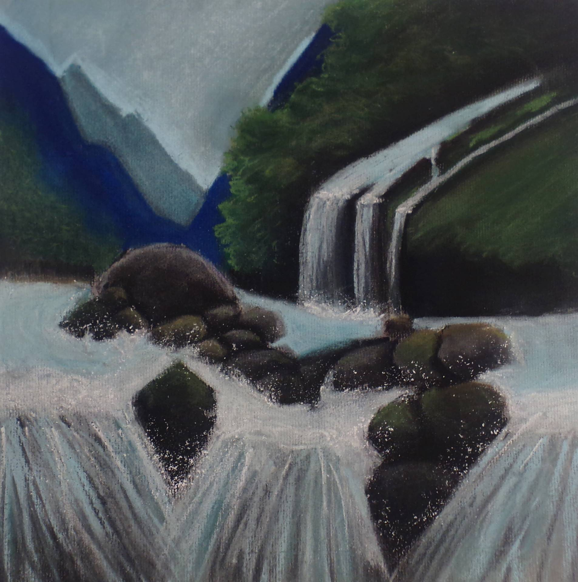 Pastel drawing of a river flowing down over rocks with mountains in the background