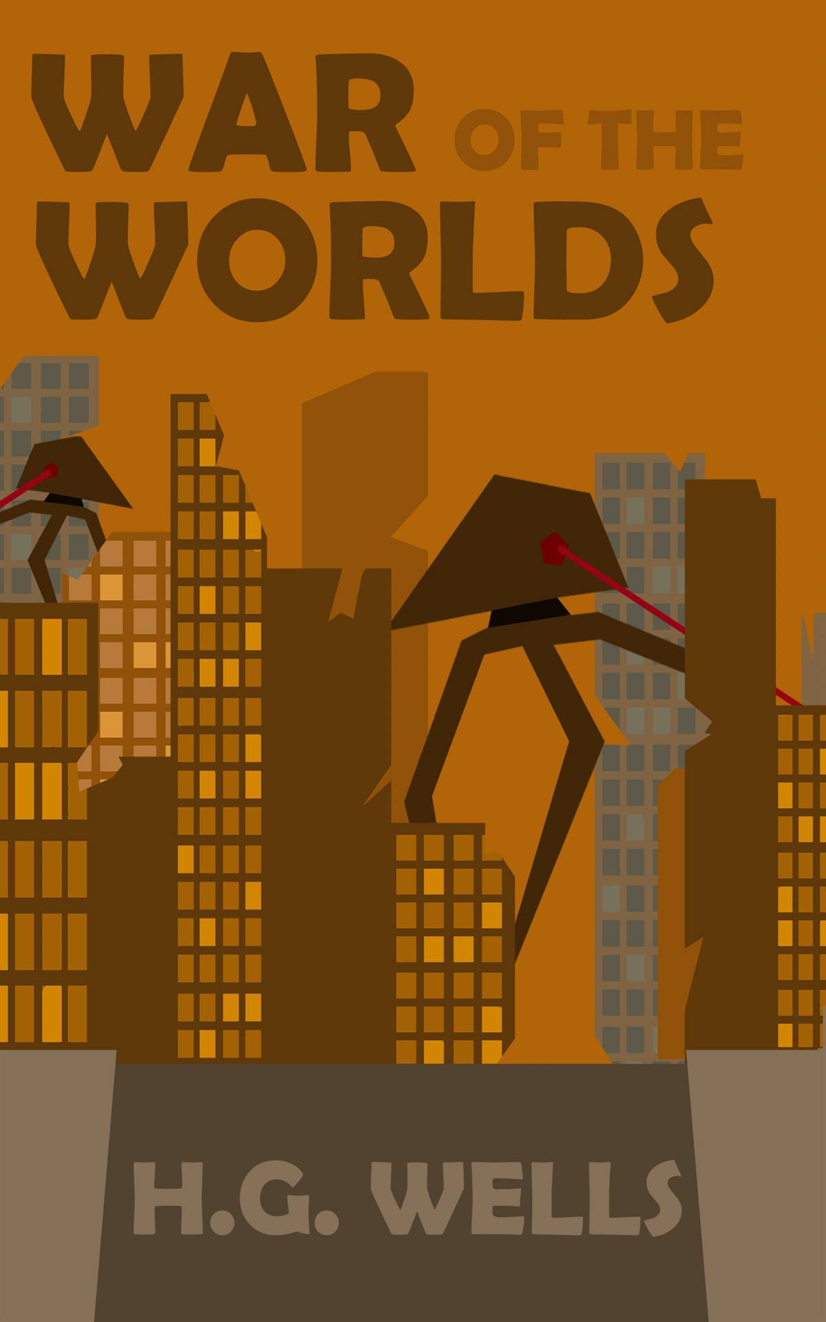 Photoshop ebook cover redesign for War of the Worlds in which a city scene has aliens among skyscrap