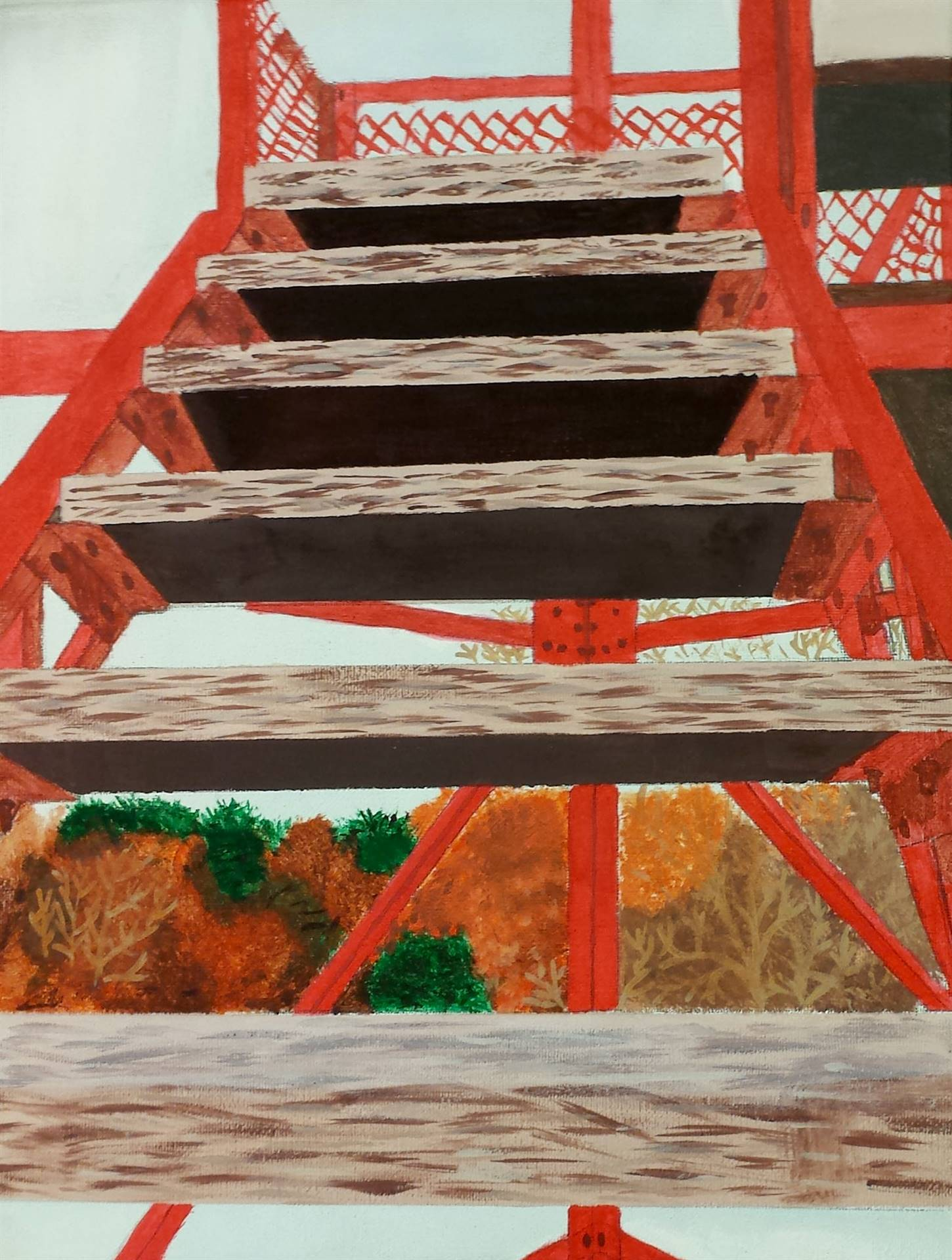 Acrylic Painting of a flight of wooden steps supported by a red-orange beams