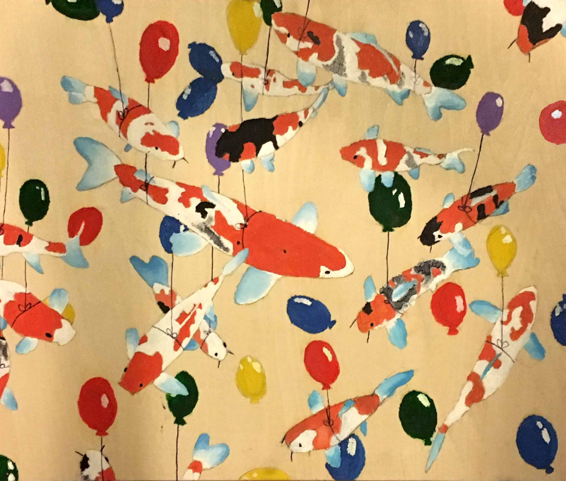 Oil painting of koi fish suspended by balloons