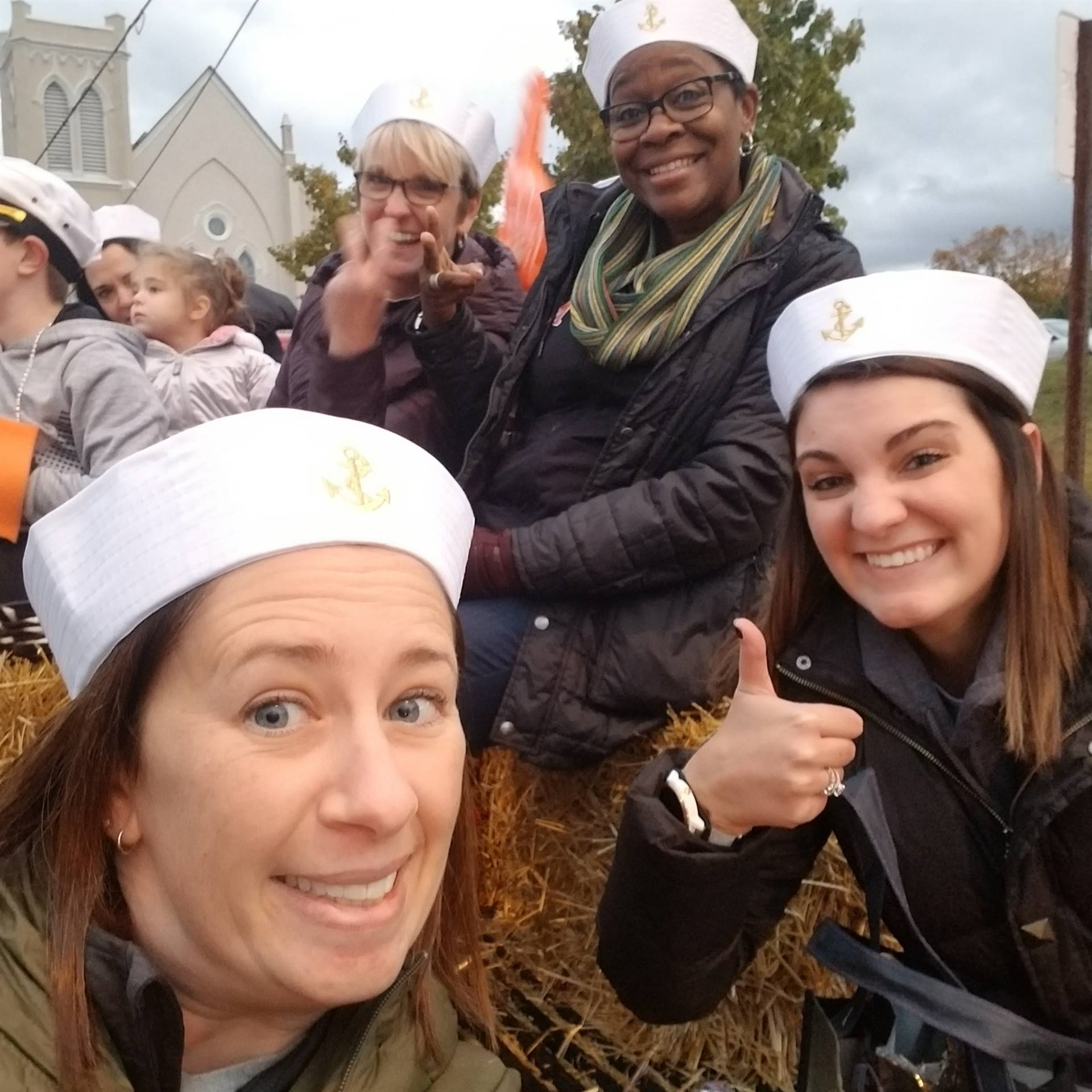 Counselors on homecoming float