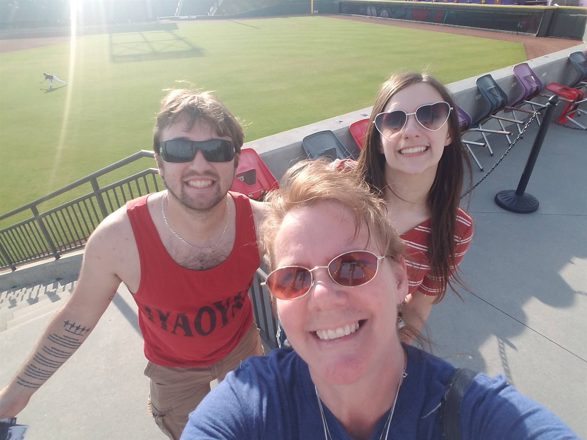 My Son Nate, his fiance Payton and me at a Durham Bulls baseball game!