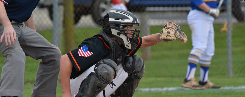 Baseball catcher getting ready to catch the pitch.