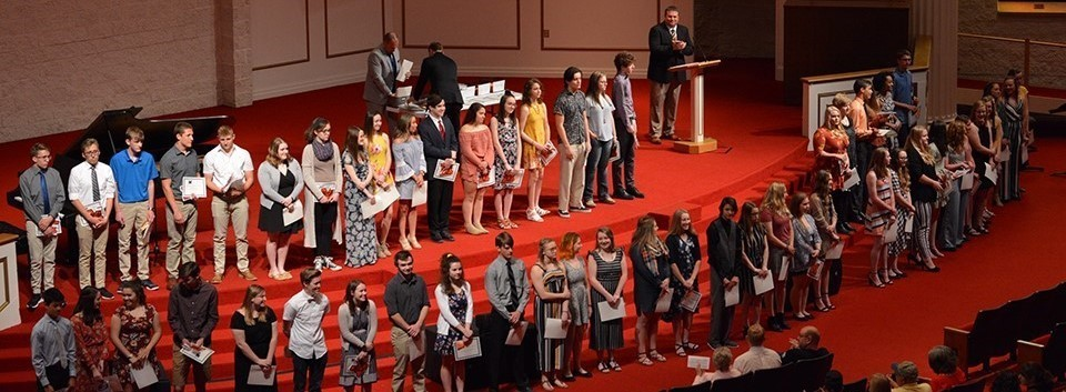 High School students on stage during Academic Awards Night
