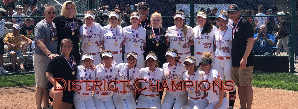 Girls Softball team with coaching staff, District Champions!