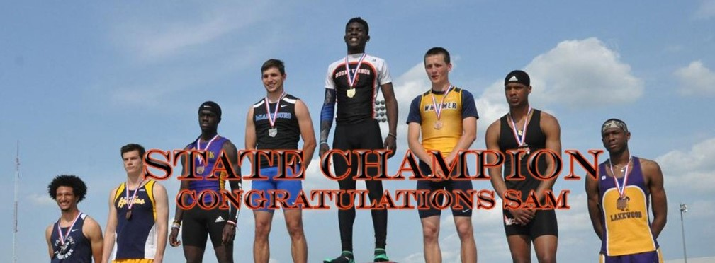 Sam Bethea State Champion on awards podium.