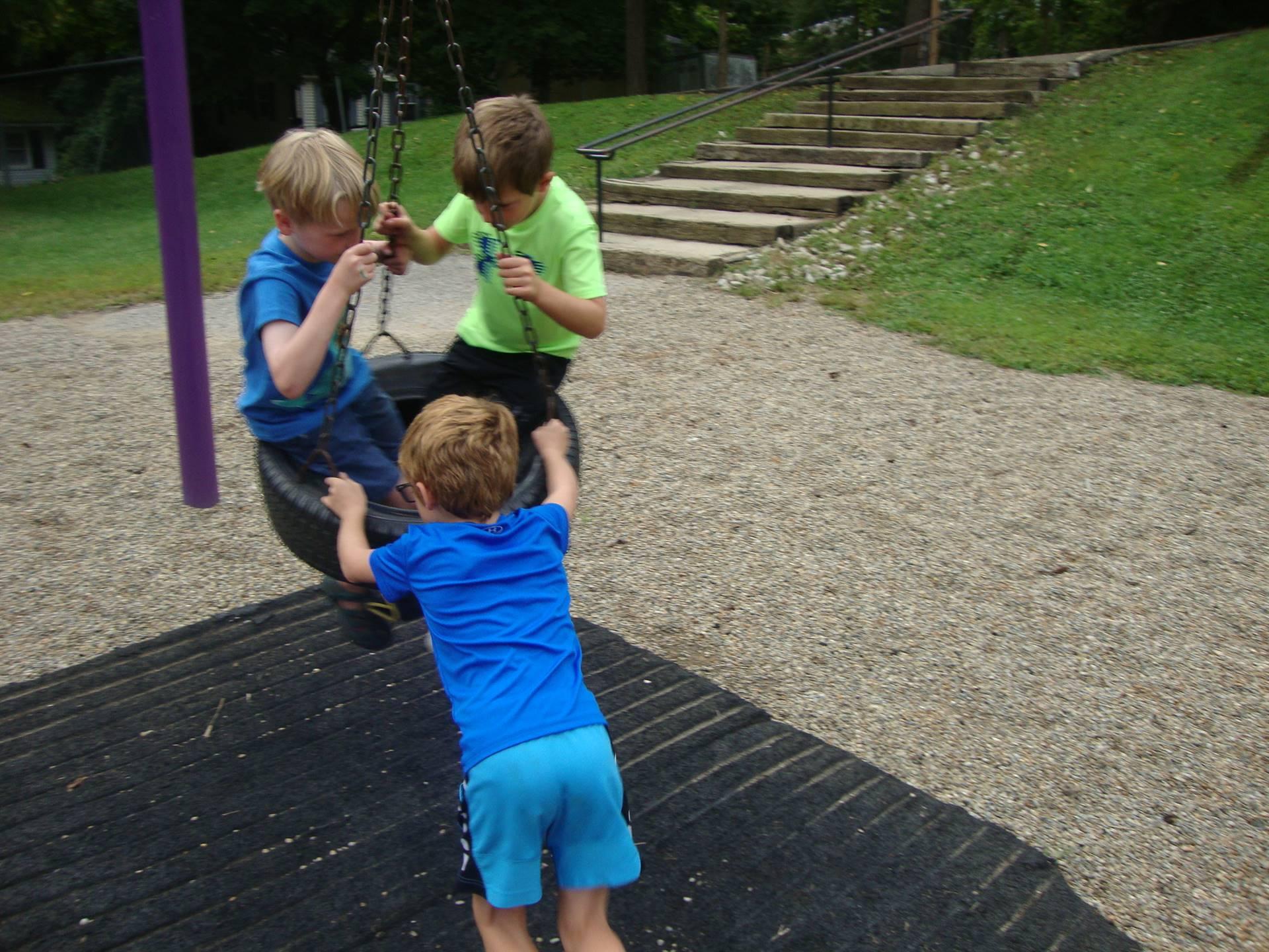 friends swinging
