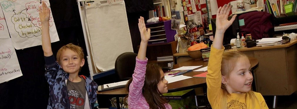 Students raising hands to answer question in class.