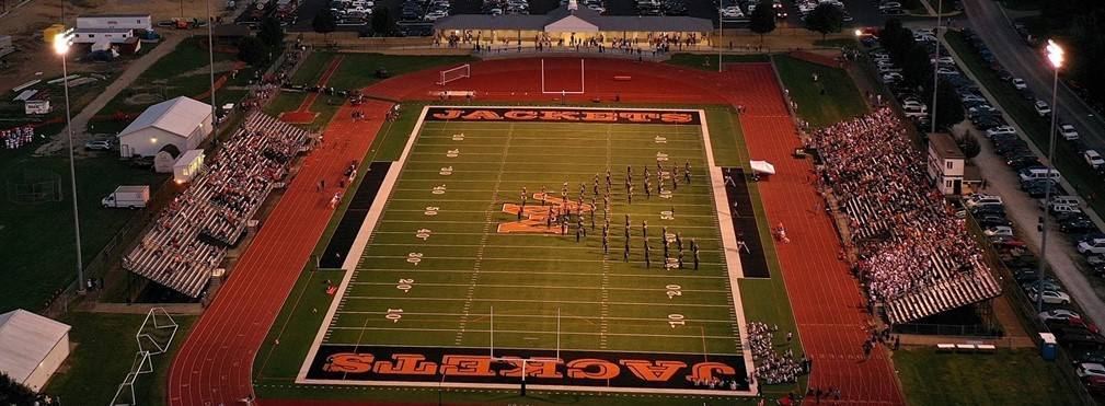 Aerial view of the Mount Vernon High School Marching Band playing during half time.