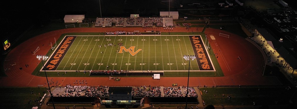 Drone image of the football stadium during the Marion Harding game.