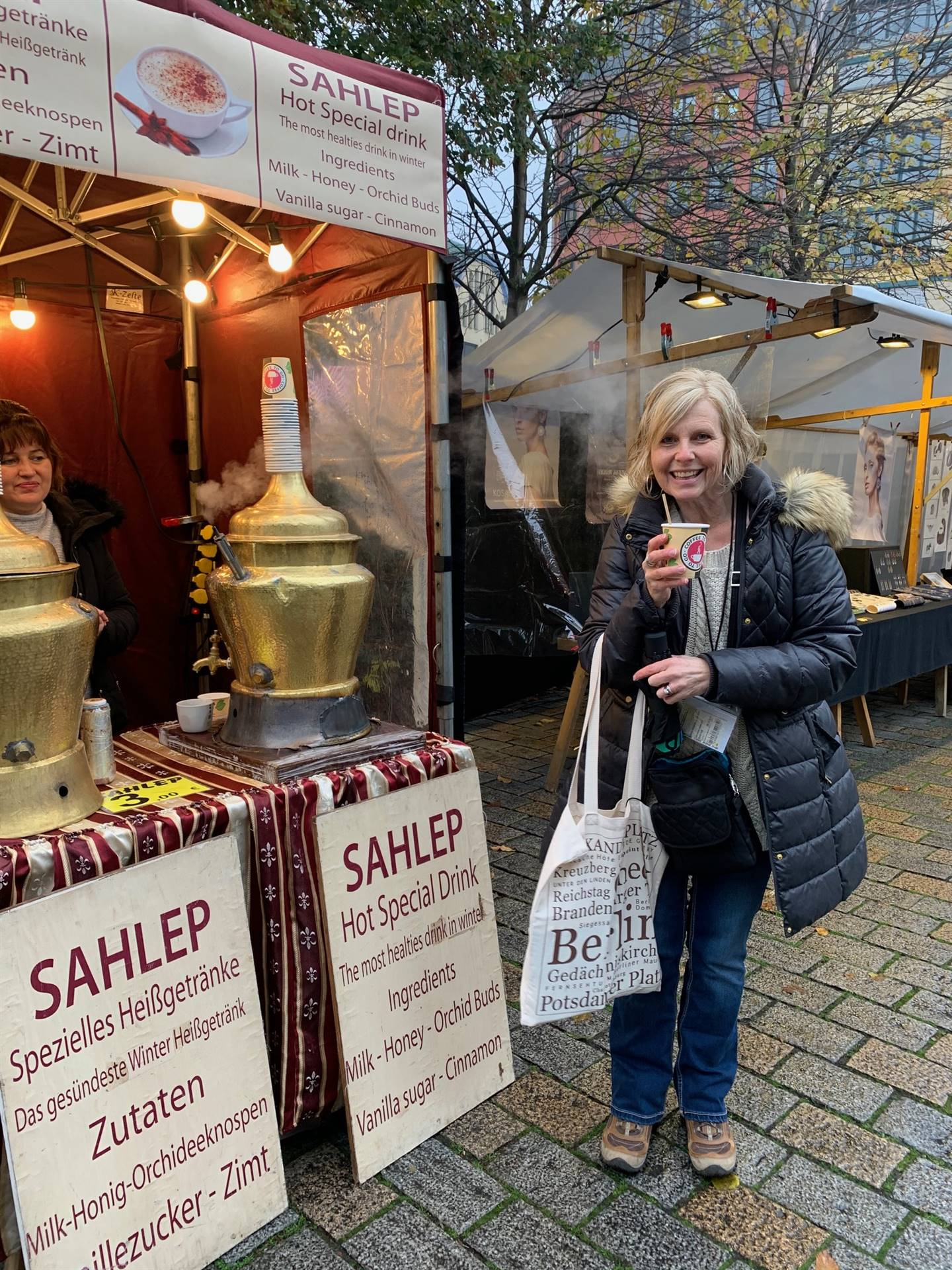 Mrs. Keaton in Berlin enjoying Sahlep (milk and honey)